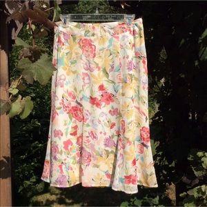 Dresses & Skirts - NWOT floral midi skirt, off white, colorful design